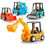 Farraige Non Toxic Construction Toys Set with Excavator, Bulldozer, Road Roller, Lift Truck Toys, Friction Powered Push and G