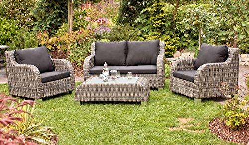 Frühling Lounge-sessel Sitz (VARILANDO 4-teilige Lounge-Gruppe aus sandfarbenem Kunststoffgeflecht 2-Sitzer Sessel und Tisch)
