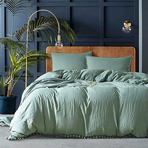 unaoiwn Mikrofaser Bettbezug Set 3Stück Tröster gewaschen Quilt Cover, Seite gebürstet mit Zeitgemäß, Ultra Weich und pflegeleicht, einfacher Stil Bettwäsche-Set, Polyester, Grün - Green Bean, King Size