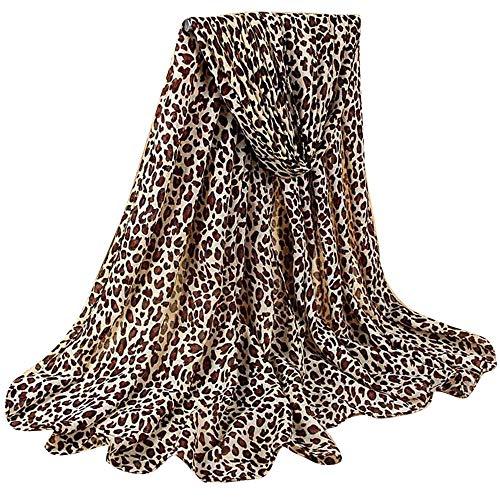 GreatestPAK Damen Baumwolle Leinen Klassischer Leopard Schal,E -