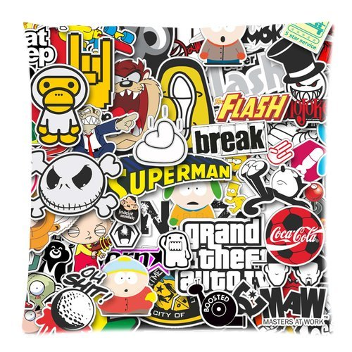 Wonderful Custom Cotton Pillow Cases Sticker Bomb Printed Zippered Cushion Cover Case  18x18 Inch(Two Sides