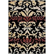 """Bayside negro alfombra con diseño de flores alfombra tamaño: 3'3""""x 5' 3"""""""