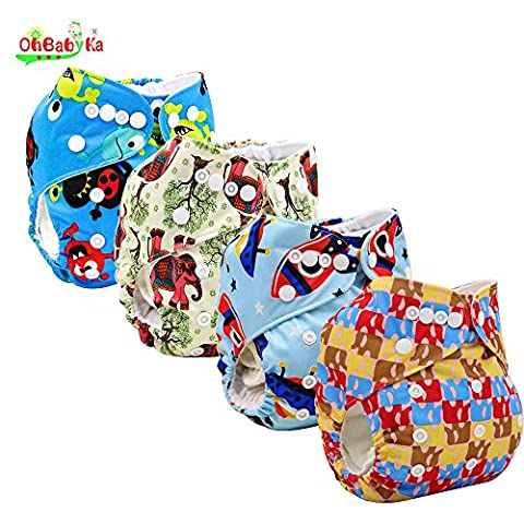 OHBABYKA Printed Design Reuseable Washable Pocket Cloth Diaper 4 Nappies + 6 Inserts (style-010)