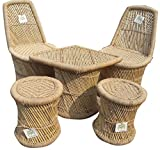 Ecowoodies Munstead Eco Friendly Handicraft Cane Sitting Stool Chair Cane Furniture Set ( 2 Chairs+2 Stools+ 1 Table)
