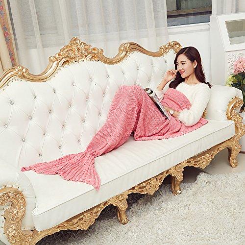 AISHN Kinder/Erwachsene Meerjungfrau Schwanz Handgefertigt Strickmuster Blanket Quilt Decke Stil Sofa Klimaanlage Blanket Kuscheldecken Teen Schlaf Tasche Bett (Erwachsene, pink)