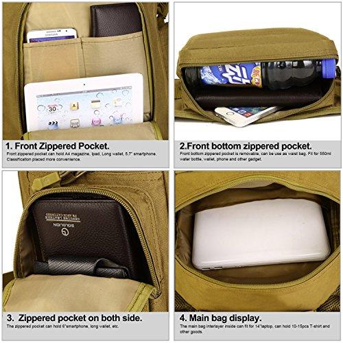 Huntvp Tactische Militarische MOLLE Rucksäcke Wasserdichte Wanderrucksäcke Multifunktionale Tasche Assault Pack Backpack Unisex Daypack für Camping Trekking 40L Braun