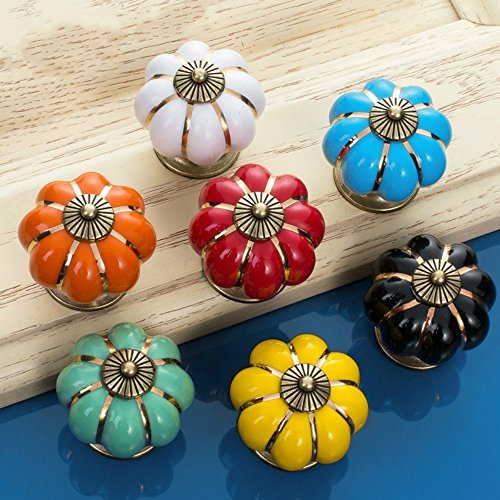 Sytian® 7pcs Multicolor Candy Color Baby Kid's Children's Furniture Drawer Handles Decorative Pumpkin Ceramic Door Cabinet Drawer Knobs Pull Handles Creative Cupboard Handle Pull Knobs with Screw -
