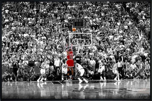 Michael Jordan Poster Last Shot 1998 Colorized (62x93 cm) gerahmt in: Rahmen schwarz -