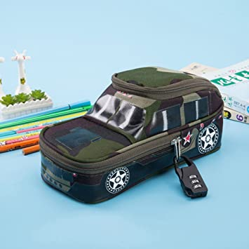 Pencil Pen Case With Password Code Lock 3D Car Model Bag For Kids Boys Gift Army Green Amazoncouk Office Products