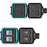 JJC Minneskort väska vattentätt skyddsfodral för 4 SDXC SDHC SD-kort och 4 mikro SD-kort TF-kort med antilost snöre