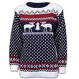 Pullover Damen Herren Weihnachten Strickpullover mit Rentier Retro Sweater MFDEER - Marineblau - Weiß, XL