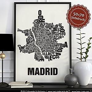 Madrid Buchstabenort Schwarz auf Naturweiß
