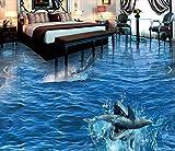 XLi-You 3D Tapete Fresko 3D-Bodenbeläge Benutzerdefinierte Wasserdicht Wallpaper Haie Fressen Delfine Sea World 3D Badezimmer Bodenbeläge Bild Foto Wallpaper Für Wände 3D Wandmalerei Hintergrundbild 300cmX220cm