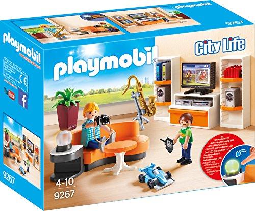 PLAYMOBIL City Life 9267 Wohnzimmer, Mit Lichteffekten,