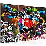 Bilder Graffiti Streetart Wandbild 120 x 80 cm Vlies - Leinwand Bild XXL Format Wandbilder Wohnzimmer Wohnung Deko Kunstdrucke Bunt 3 Teilig -100% Made in Germany - Fertig Zum Aufhängen 401831a