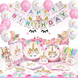 Shinelee Unicornio Cumpleaños Feliz Cumpleaños Banner/Fondo Fotografía/Platos/Bolsas de Regalo/Gorros Fiesta/Mantel Unicornio Decoración Cumpleaños Unicornio para Niñas 16 Invitados