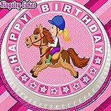 vorgeschnittenen Essbarer Zuckerguss Cake Topper, 19,1cm rund Pferd Pony-Reiten mit Happy Birthday Bordüre