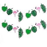 KEFAN 2-pack palmblad flamingo sommar tropisk girlang för Hawaiian Luau födelsedagsfest festival dekoration