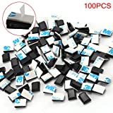Xpork 100 Pcs Self-adhesive Cable Clips Cord Organizer for All Cords, Wires, Lines and Cables Wire Clip Cable Holder