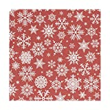 Placemats Christmas Hite Snowflakes On Red Background 12x12 inch one piece Heat Resistant Non Slip for Dinning Table
