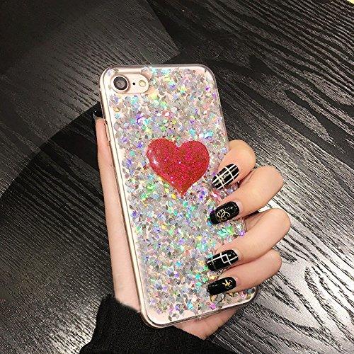 Phone case & Hülle Für iPhone 6 Plus / 6s Plus, Glitter Powder Herz Muster TPU Soft Schutzmaßnahmen zurück Fall Fall ( Color : Silver ) Silver