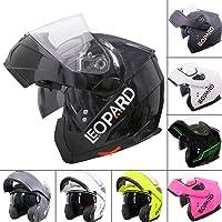 Leopard LEO-727 BL-A4 Anti-fog Visor Flip up Motorbike Bluetooth Helmet Motorcycle Dual-Speaker Headset,Hands-Free - Noise-Free,Automatic Answering,Double Visor 53-54cm Matt Black//Blue XS