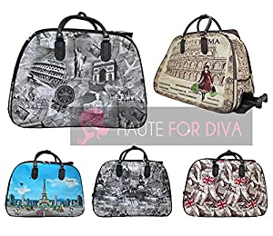 New Men Women Roma Paris Print Holiday Travel Handle Wheeled Suitcase Holdall Luggage Bag