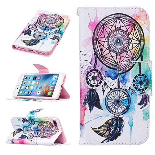"""MOONCASE iPhone 7 Plus Coque, [Don't Touch My Phone] Modèle Housse Pochette en Cuir Etui à rabat portefeuille [Porte-cartes] TPU Case avec Béquille pour Apple iPhone 7 Plus 5.5"""" Dreamcatcher"""