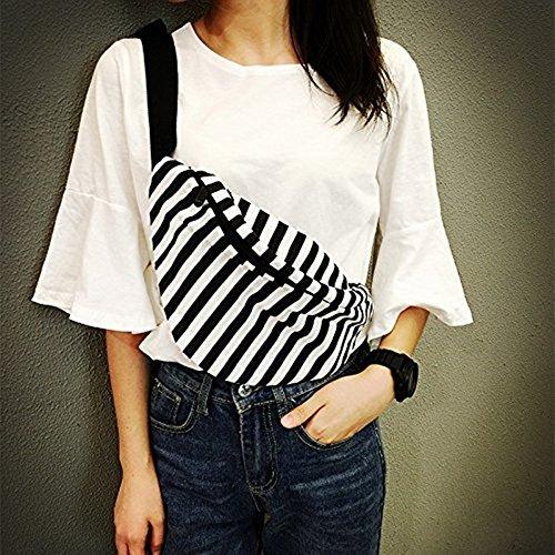 Nabati Unisex Hombres y Mujeres Moda Bolsa de pecho running cintura paquetes negro y blanco rayas mochila de lona rayas elegante Casual bolsa de la compra Cool Man bolsa de viaje