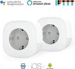 Presa Intelligente Wi-Fi Può Controllare I Consumi da 16A Potenza 3680W Gestione Elettrodomestici da Remoto tramite App Android e Ios Compatibile con Alexa, Google Assistant e IFTTT Samrt Plug MSS310 (2 Pezzi) da Meross