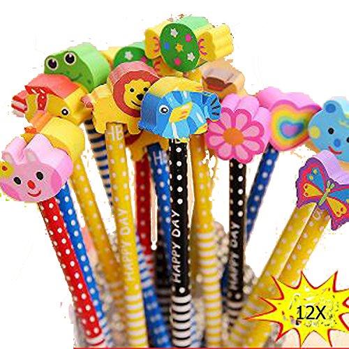 eistifte mit Radiergummi für Geburtstag Mitgebsel Geschenk Kinder Party Gefälligkeiten Gastgeschenk Schule (Farbe zufällige Lieferung) (Geburtstag Bleistifte)