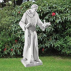 610YoboJSTL. SS300  - Marble Garden Statues - Saint Francis 84cm Religious Sculpture
