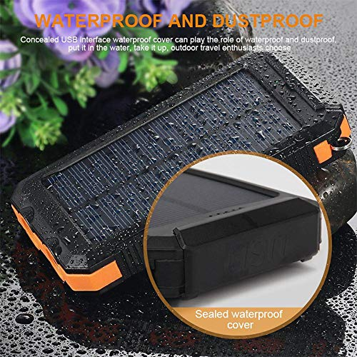 Solar Power Financial institution, Zowam 20000mlAh Portable Solar Phone Charger External Backup Solar Panel with Dual USB Ports Outdoor LED Flashlight and Compass Image 5