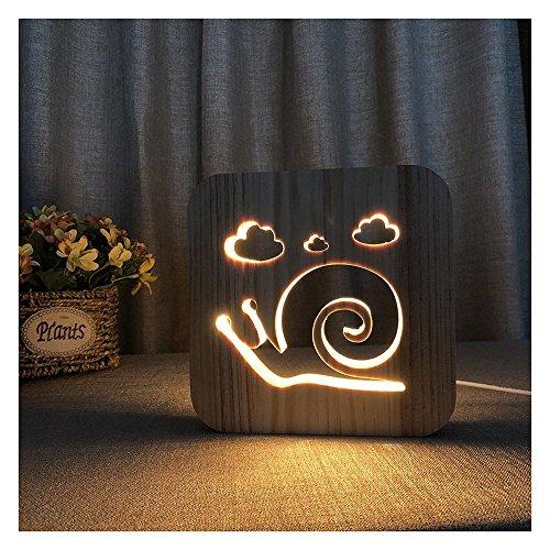 Erwa 3D Nachtlicht Fashion Snail Form Tischlampen Schreibtischlampe LED Holz Nachtlicht Kleine Tische Für Bett Zimmer USB Nachtlicht Neuheit Warmes Licht -