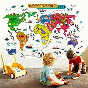 Hongrun Pegatinas de pared extraíble cartoon animal mapa del mundo sala de los niños decoración del jardín de infancia pegatinas educación infantil temprana rompecabezas 92 * 60 cm