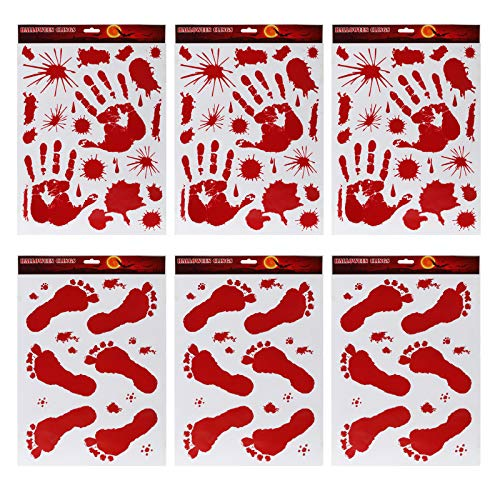 Kesote 6 Stück Blutig Fuß- und Handabdruck Fenstersticker Wandaufkleber Halloween Deko