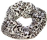 AvaMia, Schal Schlauchschal Loop, 80 cm x 170 cm, Farbe Silber Grau mit Leoparden Punkten