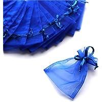C.X.Y. 100 Sacchetti Organza 7 * 9cm Confetti Bomboniera Regalo (Bluette)