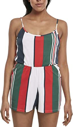 Urban Classics Ladies Patter Short Spaghetti Jumpsuit Tuta Intera Donna