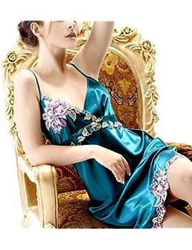 Ms. bretelle sexy di seta della molla camicia da notte e l'estate