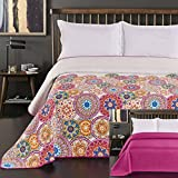 DecoKing 12222 Tagesdecke 200x220 cm rosa violett weiß bunt anthrazit Bettüberwurf zweiseitig colourful pink white violet Steppung Bibi