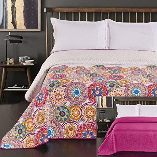 DecoKing 12222 Tagesdecke 200x220 cm rosa violett weiß bunt anthrazit Bettüberwurf zweiseitig...