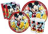 Ciao Y2495 - Kit Party Festa in Tavola Mickey Mouse Club House per 24 Persone (112 Pezzi: 24 Piatti Grandi, 24 Piatti Medi, 24 Bicchieri, 40 Tovaglioli)