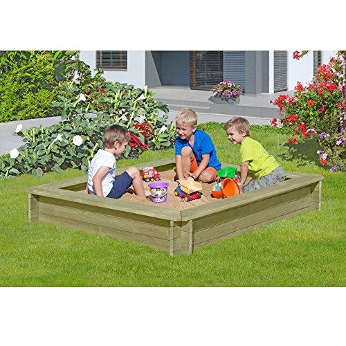 Preisvergleich Produktbild Sandkasten 180 x 180 x 30 cm aus Holz 30 mm imprägniert von Gartenpirat®