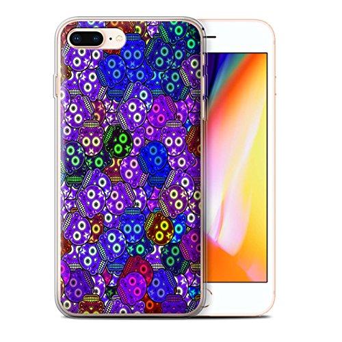 Stuff4 Gel TPU Hülle / Case für Apple iPhone 8 Plus / Türkis Muster / Süßigkeiten Schädel Kollektion Lila
