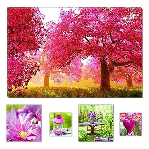 Lumière Eco Art mural sur toile Bundle Rouge arbres Forêt Nature abstraite, Toile, rose, L