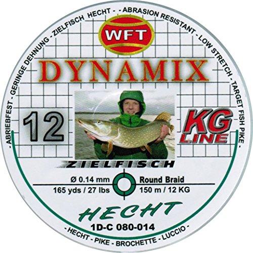 WFT Round Dynamix Hecht green 150m geflochtene Schnur zum Spinnfischen, Raubfischschnur, Hechtschnur, grüne Angelschnur, Durchmesser/Tragkraft:0.14mm / 12kg Tragkraft