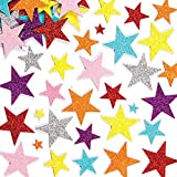 100pcs Glitter Schaumstoff Sticker Selbstklebendes Stern,Glitzernde Moosgummi-Aufkleber,Glitzernde Moosgummi,Für Kids Craft Verzierungen zum Dekorieren, Scrapbooking & Kartenherstellung, Mischfarben