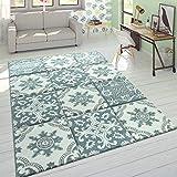 Paco Home Designer Teppich Modern Konturenschnitt Pastellfarben Karo Orient Muster Blau, Grösse:200x290 cm