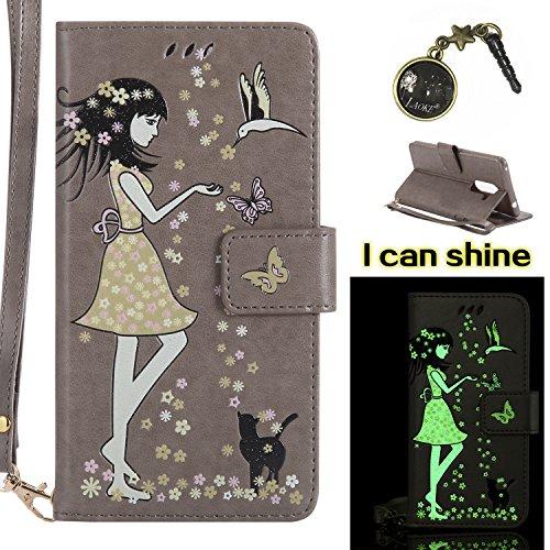 Preisvergleich Produktbild Honor 6X Hülle Flip-Case Premium Kunstleder Tasche im Bookstyle Klapphülle mit Weiche Silikon Handyhalter Lederhülle für Huawei Honor 6X Luminous Mädchen Katze case Hülle +Stöpsel Staubschutz (3)